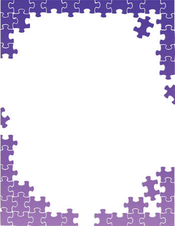 purple puzzle pieces border template illustration design over a white background Vector
