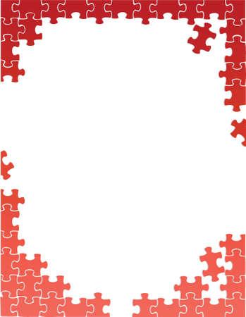 paciencia: piezas de un rompecabezas rojo frontera ilustraci�n del modelo del dise�o sobre un fondo blanco