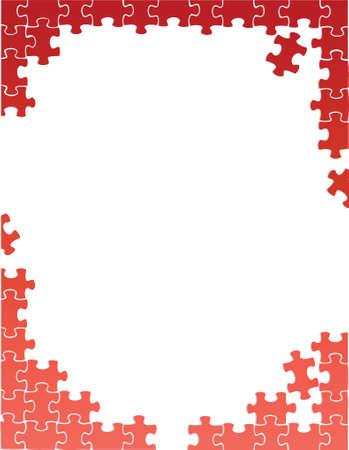 red puzzle pieces border template illustration design over a white background
