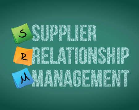 gestión de relaciones con los proveedores en un diseño de tablero de ilustración sobre un fondo blanco