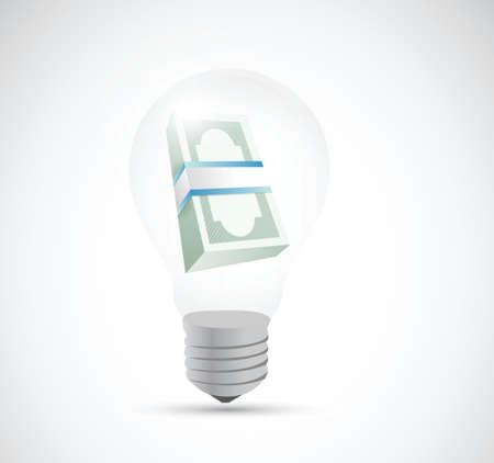 bills and money light bulb illustration design over a white background