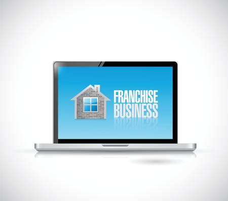 business franchise computer sign illustration design over a white background Ilustração