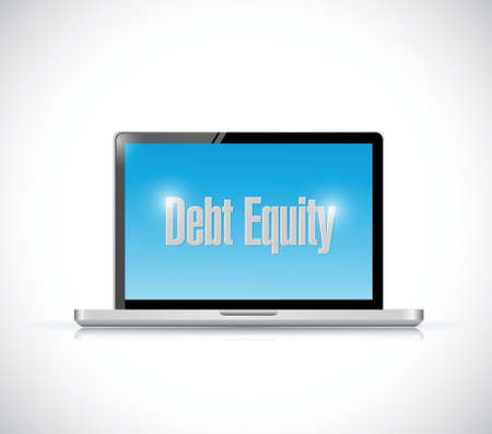 accountancy: debt equity message on a computer illustration design over a white background