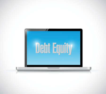 equidad: mensaje de la equidad de la deuda en un diseño de ilustración del ordenador sobre un fondo blanco