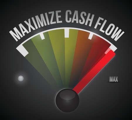 cash flow: maximize cash flow mark illustration design over a black background Illustration