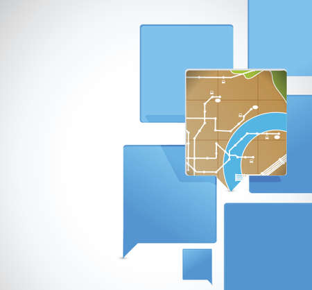 speech bubbles and map pointer illustration design over a white background Vettoriali