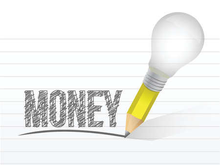money and pencil light bulb illustration design over a white background