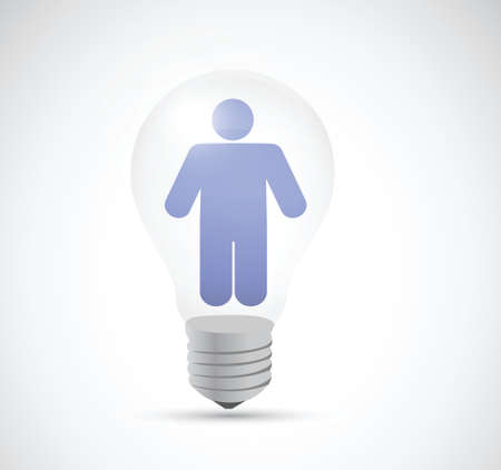avatar inside a light bulb illustration design over a white background Vector