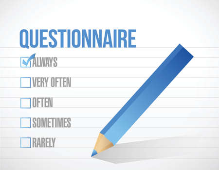 taking charge: questionnaire check tick mark selection illustration design over a white background