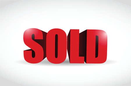 sold 3d red sign illustration design over a white background Ilustração