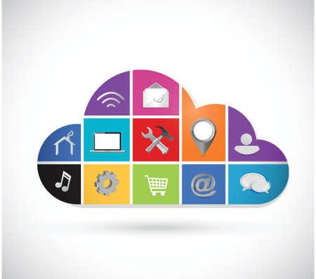 color icons cloud computing illustration design over a white background Illustration