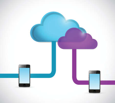 cloud and phone network illustration design over a white background Vector
