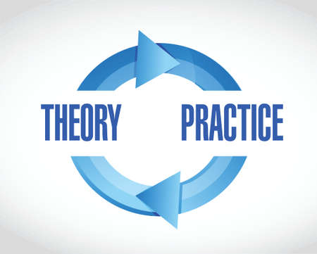 theory and practice cycle illustration design over a white background Vector
