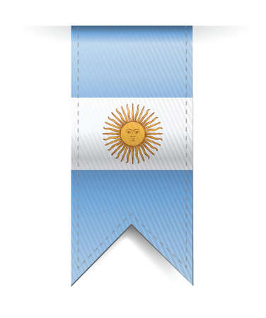 buenos aires: argentina flag banner illustration design over a white background