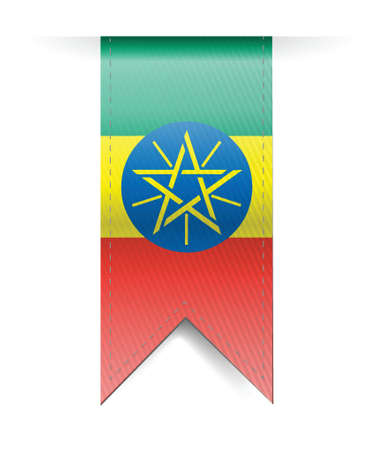 ethiopia: ethiopia flag banner illustration design over a white background