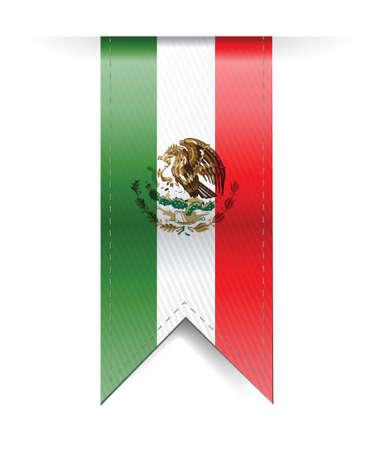メキシコの国旗は、白地にイラスト デザインをバナーします。