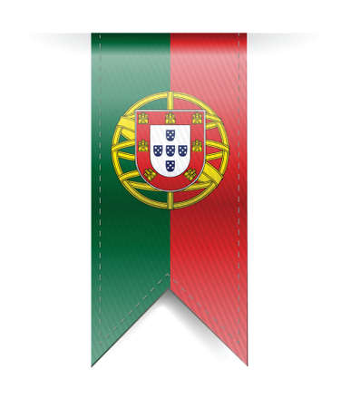 made in portugal: portugal flag banner illustration design over a white background