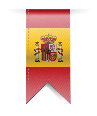 made in spain: Spain flag banner illustration design over a white background