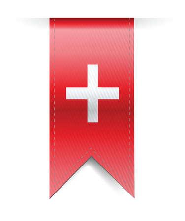 red cross: Switzerland flag banner illustration design over a white background