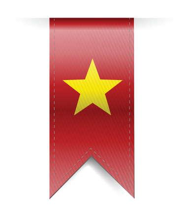 vietnam flag banner illustration design over a white background Vector