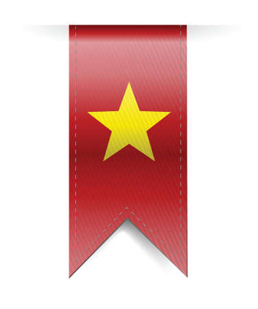 vietnam war: vietnam flag banner illustration design over a white background