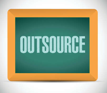 downsizing: outsource message on a board illustration design over a white background