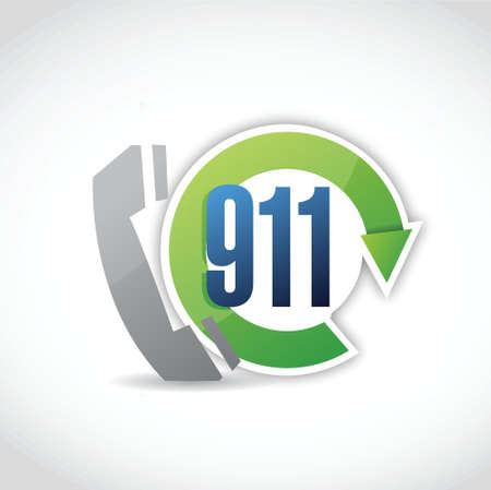 emergency number: 911 phone cycle illustration design over a white background