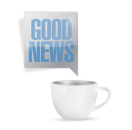 koffiemok en goed nieuws bericht illustratie ontwerp op een witte achtergrond Stock Illustratie