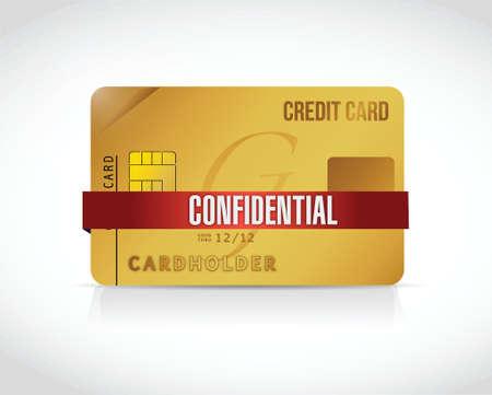 흰색 배경 위에 기밀 신용 카드 정보를 그림 디자인