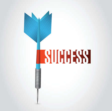 success dart sign illustration design over a white background Illustration