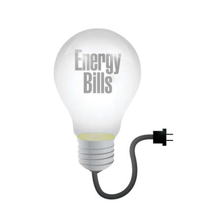 energy bills light bulb and cable. illustration design over a white background