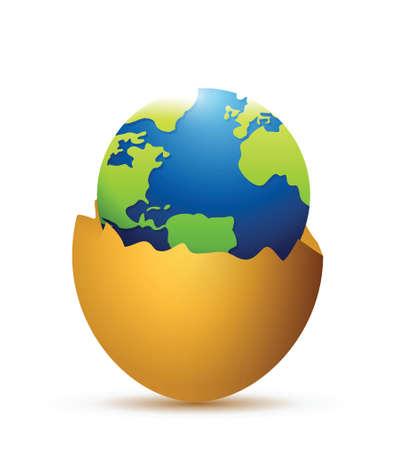 uovo rotto: uovo rotto e globo all'interno. design illustrazione su uno sfondo bianco