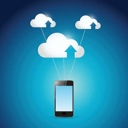 remote access: phone and cloud computing balloons illustration design over a white background