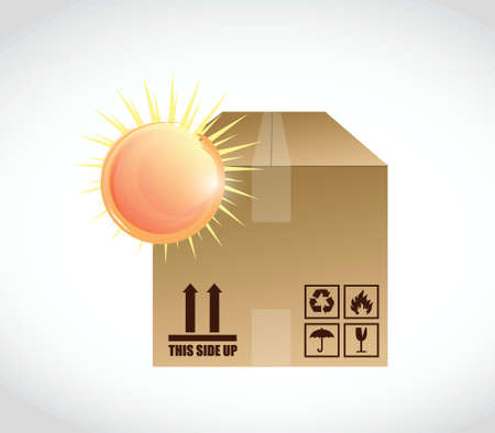 box and bright sun illustration design over a white background