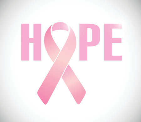 hope sign and pink cancer ribbon illustration design over a white background Vector