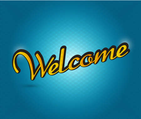 locution: welcome sign illustration design over a blue background Stock Photo