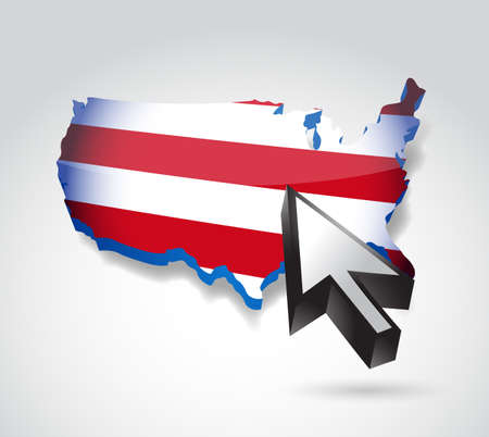 us map and cursor illustration design over a white background illustration