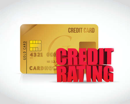 credit rating and credit card illustration design over a white background Vector