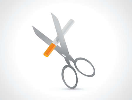 quiting smoking: cutting a cigarette with scissors illustration design over a white background Illustration
