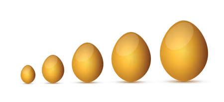 uova d oro: uova d'oro design illustrazione su uno sfondo bianco