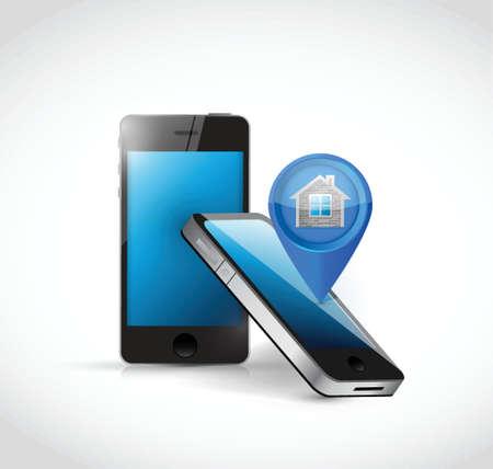 smart: phones and home locator illustration design over a white background Illustration