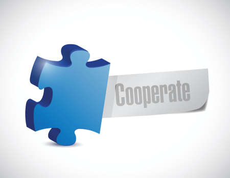 cooperate: cooperate puzzle piece sign illustration design over a white background