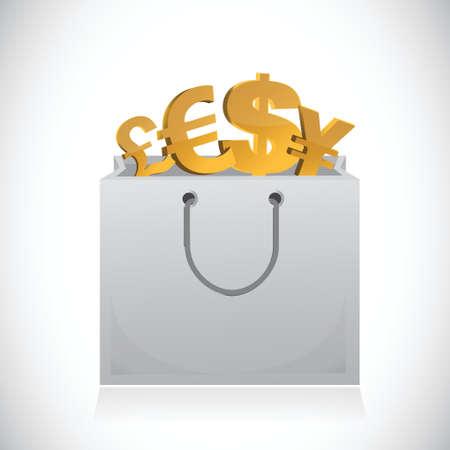 白い背景の上のショッピング バッグと通貨記号イラスト デザイン  イラスト・ベクター素材