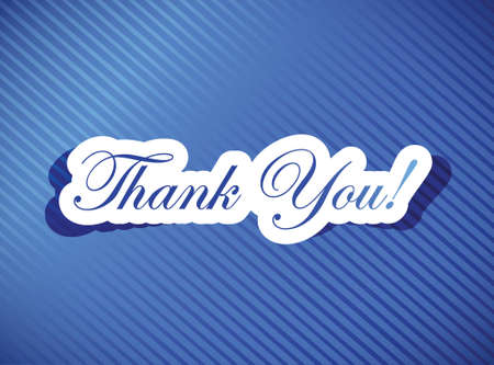 blue you: thank you card illustration design over a blue background