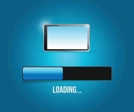 notebook computer: loading tablet updates illustration design over a blue background