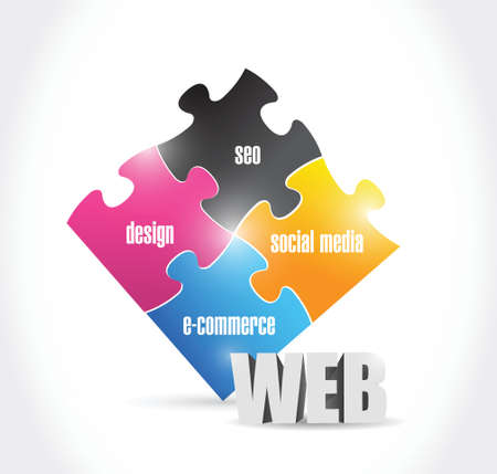 web solutions puzzle illustration design over a white background