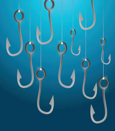 competitions: fishing hooks illustration design over a aqua background Illustration