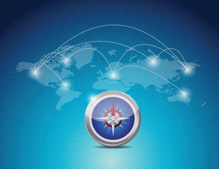 slide show: world map connection network illustration design over a blue background Illustration