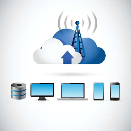 electronics and cloud tower connection illustration design over a white background Illustration