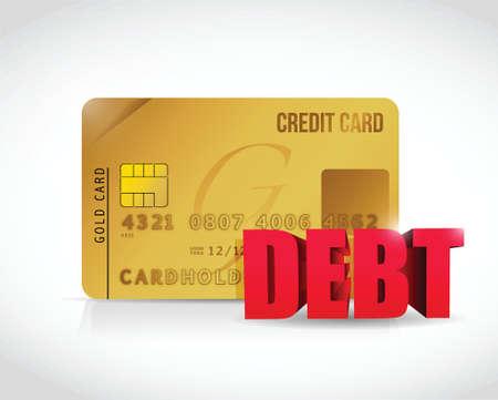 creditcard en schuld concept illustratie ontwerp op een witte achtergrond